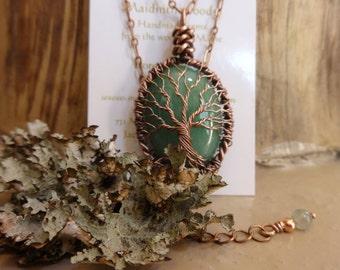 Green Aventurine Moon Tree of Life Necklace