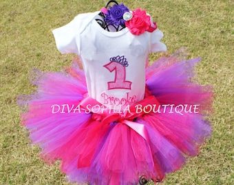 Personalized Hot Pink and Purple Princess Tutu Set  - Birthday Tutu