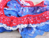 Vintage Red, White and Blue Lace Trim - 3 inch wide Lace Trim ~ Americana Lace Trim ~ 4th of July , Memorial Day Ribbon