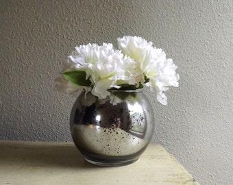 Round Mercury Glass Vase - Candle Holder - Wedding Vases - Mercury Glass Ball Vase