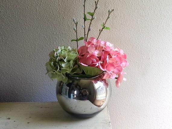 gro e runde quecksilber ball glasvase silber bubble vase. Black Bedroom Furniture Sets. Home Design Ideas