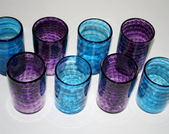 Set of Eight Spiral Glasses: Light AQUA BLUE & PURPLE, Hand Blown Tumblers, Hand Blown Drinking Glasses, Functional Glassware, Blown Glass