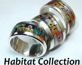 Silver ring handpainted - Habitat Collection
