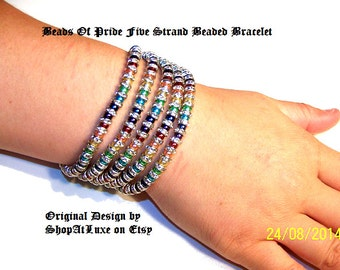 Beads of Pride Five Strand Beaded Bracelet - An Original ShopAtLuxe Design