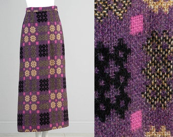 Deadstock NOS Incredible Vintage 60s Heavy Weight Chunky Wool Mohair Tweed Geometric Maxi Skirt Purple Small XS