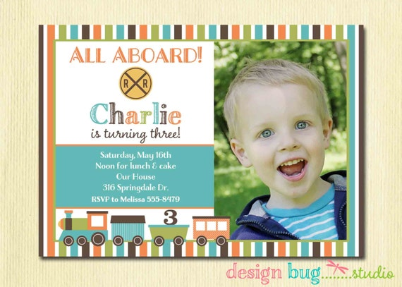 Boys Birthday Train Invitation Chevron Invitation ANY age – 3 Year Old Birthday Invitation
