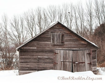 Winter Shed - Wall Art - Architecture Photography - Home Decor -  Art Print - Snowing - Minnesota - Rustic - Wood - 8x10