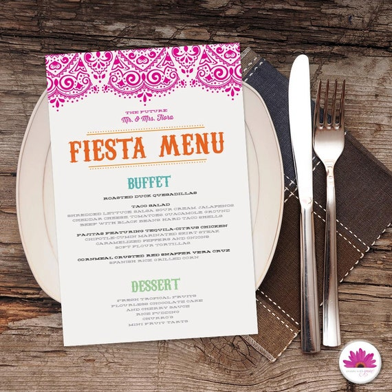 Elegant Rehearsal Dinner Menu Digital File Dinner Menu: Fiesta Rehearsal Dinner Menu Digital File