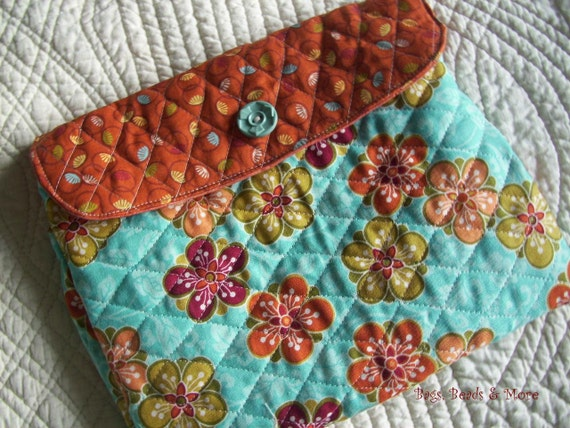 Quilted iPad Sleeve, Turquoise and Orange E-Reader Case