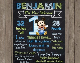 Baby Mickey Mouse 1st Birthday Boy Chalkboard Custom Color Printable Poster- Digital File