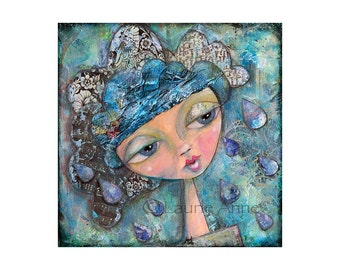 Rainy Day: A Whimsical Collage and Acrylic Wall Art Print of My Mixed Media Girl
