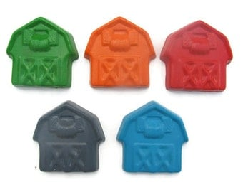 Jumbo Barn Crayons set of 5 - Farm Crayons - Party Favors