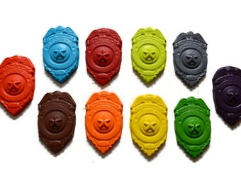 Police Badge Crayons set of 10 - party favors - police party