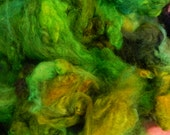 "Hand dyed100% Romney Wool Locks, Iron Water Ranch, Albany, Or., PNW, Dk. green, lit green, tourquoise,"" A Walk in the Woods in Spring"" E1"
