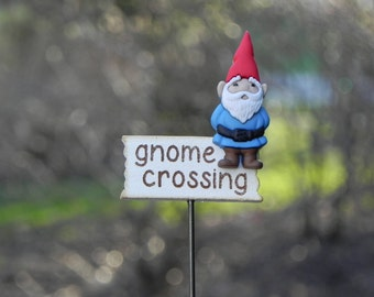 Fairy Garden accessories miniature gnome crossing sign three choices