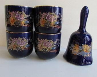 Cobalt Blue Kutani Porcelian Tea cups and Bell