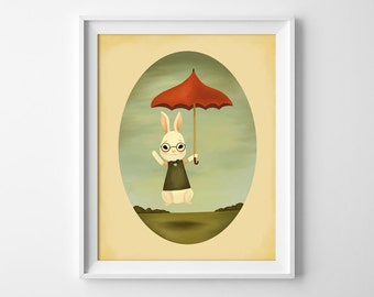 Bunny Print - Bunny Illustration - Bunny Boy Art Print