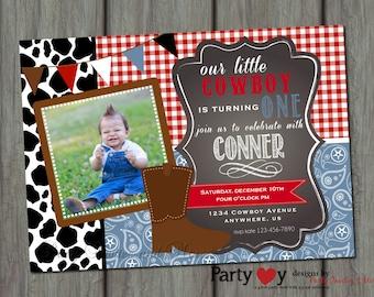 Cowboy Birthday Invitation, Western Birthday Invitation,  Cow Print Birthday Invitation, Paisley Birthday Invitation, Chalkboard Invitation