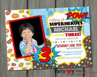 Superhero Birthday Invitation, Comic Birthday Invitation, Superheroes Invitation, Superhero Invitation, Superhero Birthday Party