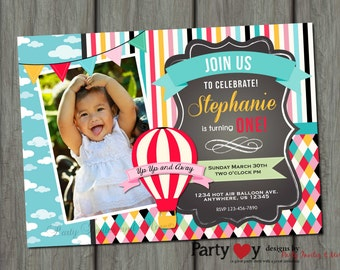 Up Up and Away Birthday Invitation, Hot Air Balloon Birthday Invitation, Summer Birthday Invitation, First Birthday Invitation