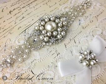 Wedding Garter, Lace Bridal Garter Set, Lace Wedding GArter, White Lace Garter, Wedding garter set, Stretch Lace Garter, Rhinestone Garter