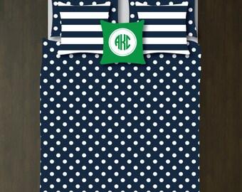 Custom Small Polka Dots Bedding Set-Duvet Cover-Shams-Navy Blue-Green-White-Twin XL-Full/Queen-King-Bedding-Bedroom-Bed-Kids Room-Girl-Dorm