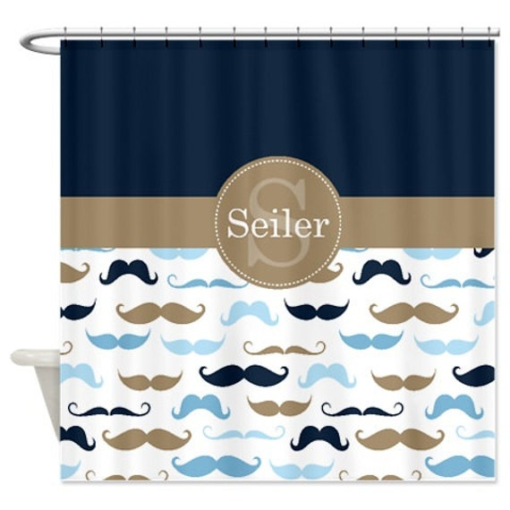 Mustache Shower Curtain Names Navy Tan Light Blue Dusk