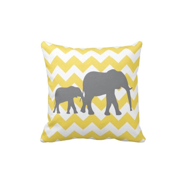 Chevron Elephant Throw Pillow & Cover-Yellow-Grey-White OR