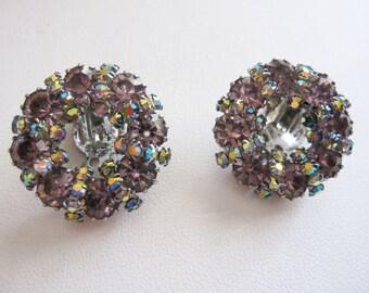 Retro vintage  aurora borealis clip earrings...just like the Northern Lights - Estate sale find