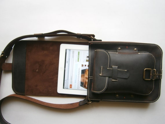 IPad Leather bag, Student's bag, Man Bag, Gift for him, Handmade Bag