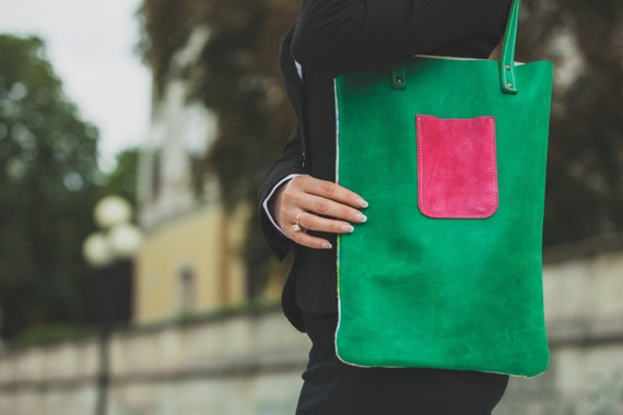 Two faces Leather Bag, Summer Tote Bag, Beach Bag, Shoulder bag, Tote Bag, Leather Pouch, Coloured Green Leather Bag
