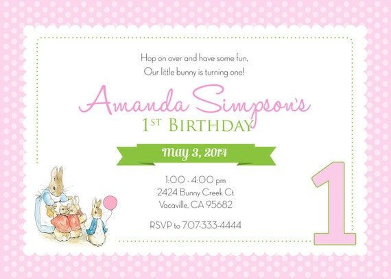 Peter Rabbit Birthday Invitation Girl Polka Dot Personalized