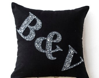 Black Linen Initial Cushion - Monogram Pillow - Grey Sequin Monogram Pillow- Monogram Pillows- Wedding- Gift-14x14- Bedding- Couch Pillow