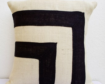 Burlap Pillow- Black Ivory Pillow Bold Stripe Pillow- Cream Applique Pillow Cover -Decorative Cushion Cover- All Sizes -Gift -Gift For Him