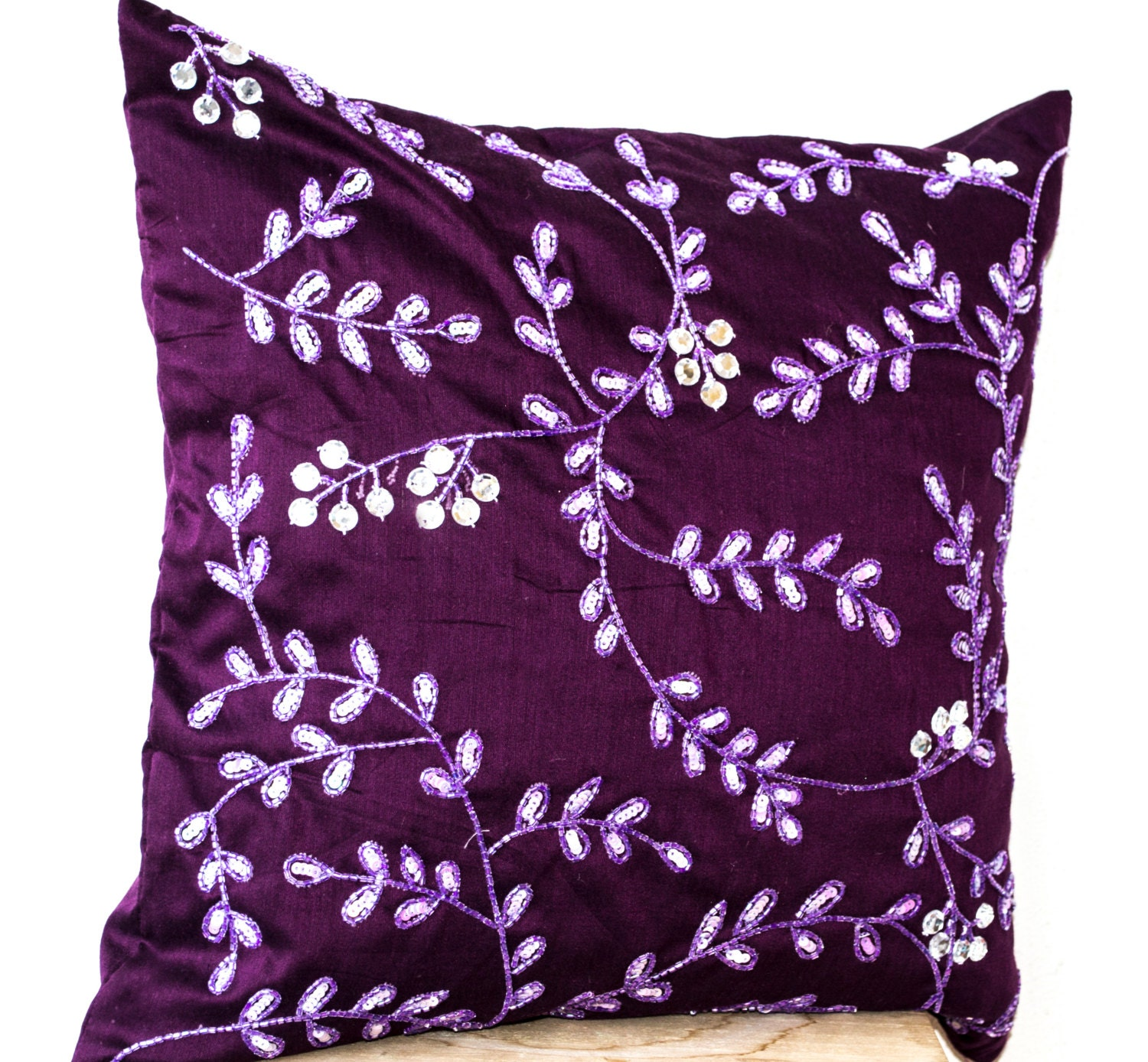 Radiant orchid throw pillows bead sequin detail Leaves