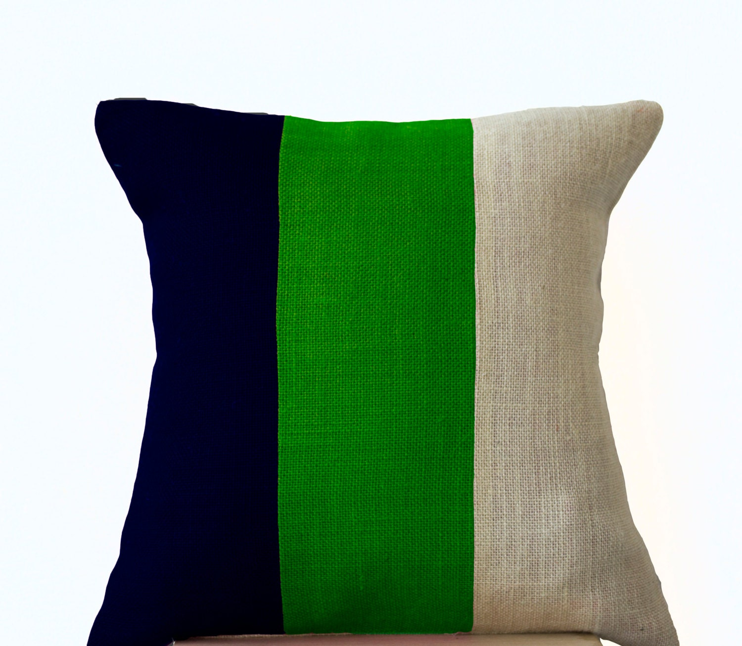 Modern Pillow Color Block Contemporary Pillow Cover In Burlap