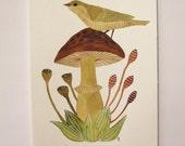BOTANICAL BIRDS SERIES: Mushroom Forest Bird - Original Watercolor Painting , Woodland Art , Bird Painting , 9.1 x 6.3 inch