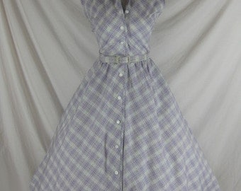 1950s 1960s Johnathan Logan Designer Vintage Purple Plaid FULL SKIRT Cotton Party Dress W 27