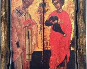 Saint St. Nicholas, Saint St. George - Orthodox icon on wood handmade (22.5cm x 17cm)