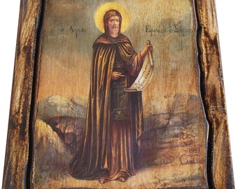 Saint St. Ephraim - The Syrian - Orthodox icon on wood handmade (22.5cm x 17cm)