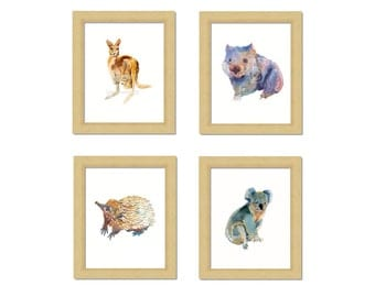 Australian Animals -Childrens Art - Animal Paintings  - 4 x 8x10inch  - Watercolor  Paintings - Nursery Art Prints