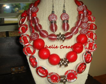 Big Bold Chunky Fashion Necklaces Red chunky necklace red