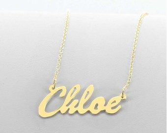 """Solid Gold """"Chloe Style""""  Script Name Necklace"""
