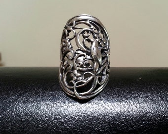 Large bird swallow filegree ring alternative steampunk gothic art nouveau victorian sterling silver ring