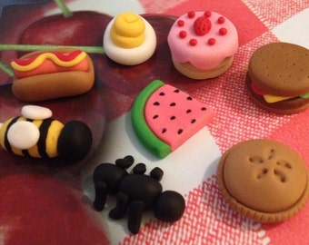 Picnic Foodie Cupcake - Cake Fondant Decorations