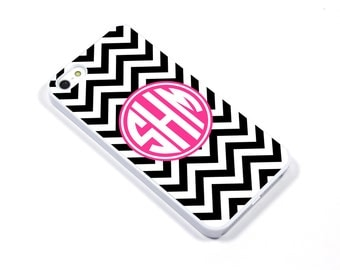 iPhone 5/5s iPhone 5c iPhone 6/6plus Samsung Galaxy S3 S4 S5 iPod touch 4th/5th Gen - Monogram Chevron pink black - p08