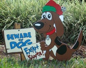 Christmas Beware of Dog Except Santa Sign