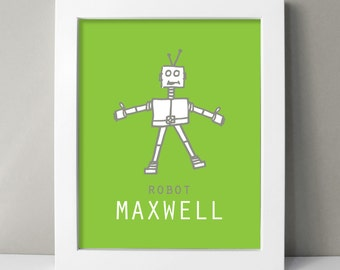 Robot Nursery Art Print - Robot Art - Robot Prints - Custom Baby Boy Robot Decor - Robot Drawings - Kids Room Robot Art - Green Nursery