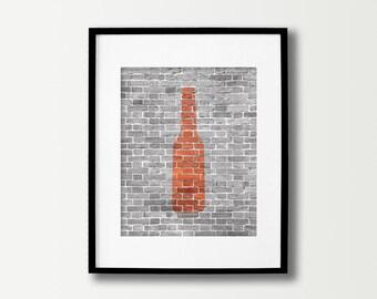 Beer Sign - Beer Poster - Beer Art - Beer Prints  - Bottle of Ale - Black & White Brick Decor - Kitchen Wall Art - Manly Men - Gifts for Him