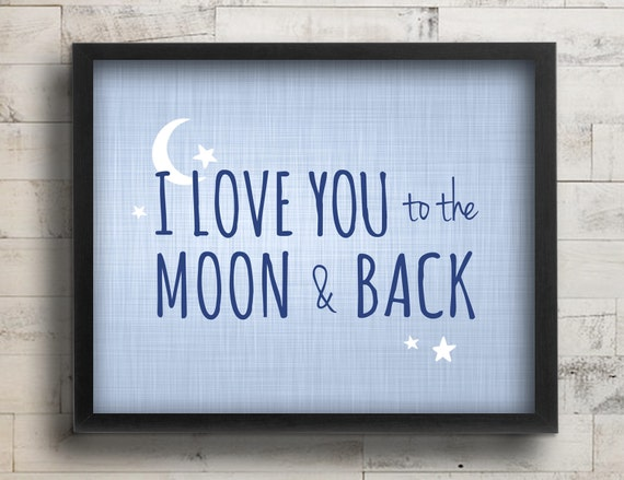 Baby Boy Nursery Decor I Love You To The Moon & Back Quote